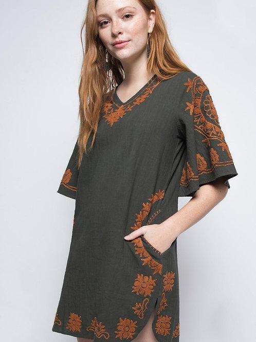 Ivy Jane Grey with Orange Embroidery Dress