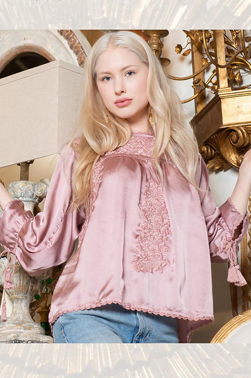 Sister Mary Long Sleeve Embroidery Top Blush