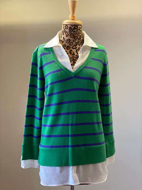 Tyler Boe Cashmere Green & Purple Stripe