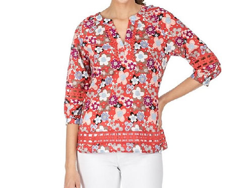 Floral Top with Lace on Sleeve