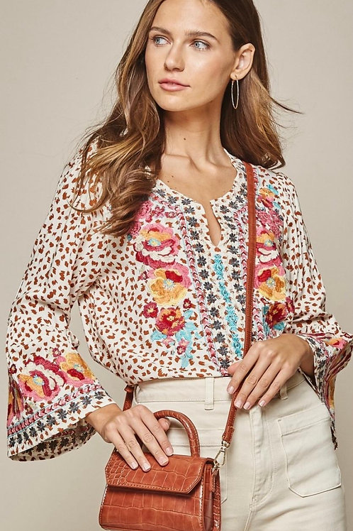 Leopard Embroidery Top with bell sleeves