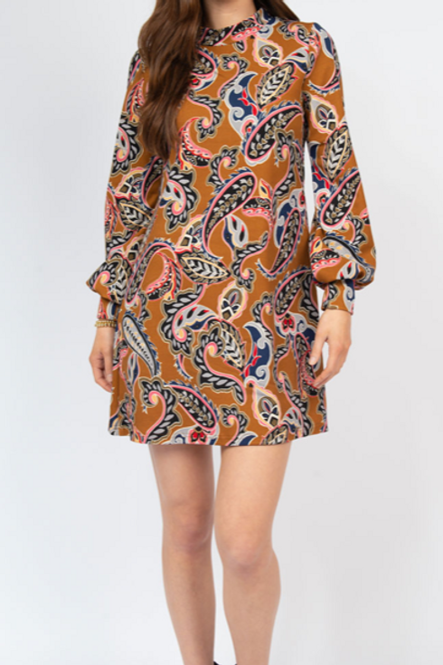 Paisley Mock Neck Knit Dress Ivy Jane