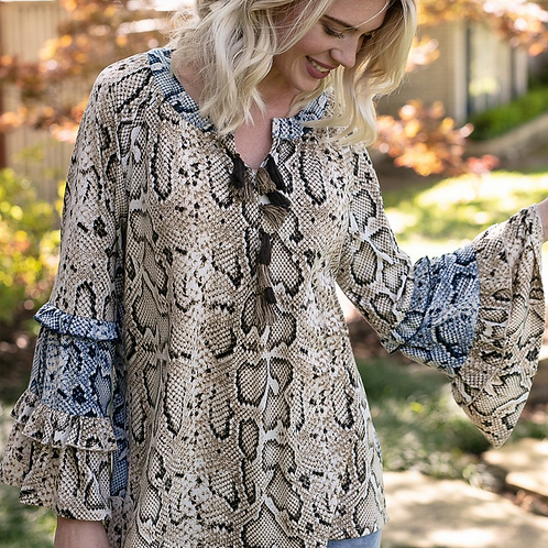Snake Print Top with Bell Sleeves