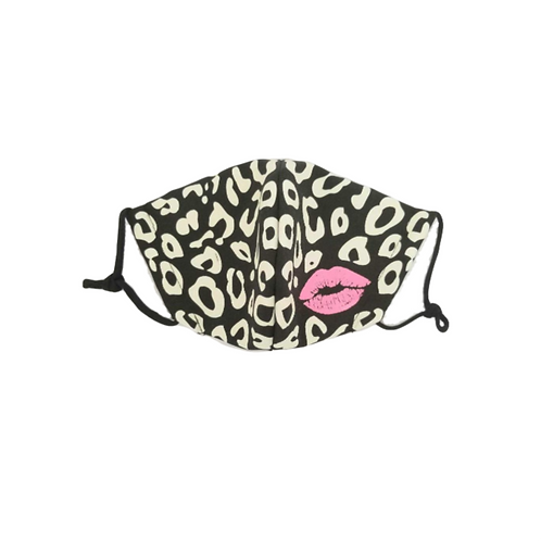 Kiss Me Black Leopard ~ Adult Mask ~ Double Layer