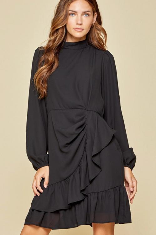 Black Tie Ruffle Front Dress