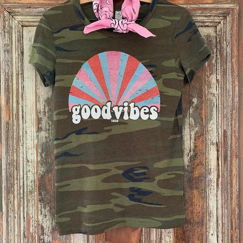 Good Vibes Camo Tee with Crystals