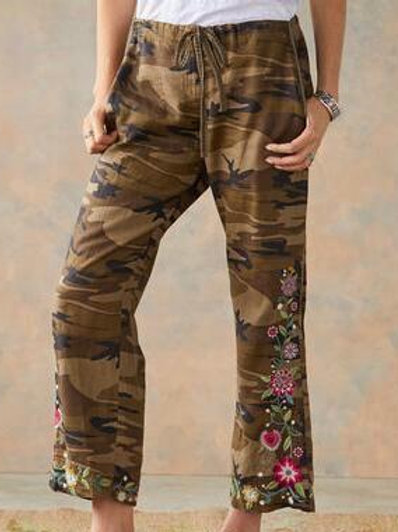 Johnny Was - Camo Pant with Embroidered Flowers