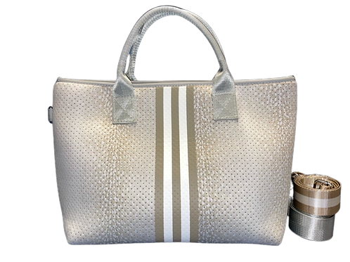Gold & White Purse with 2 Straps