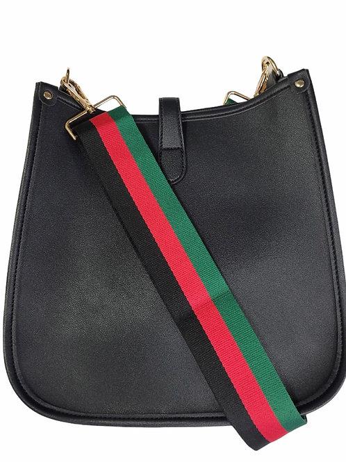 BlackVegan Leather Reg Size Cross Body with Strap
