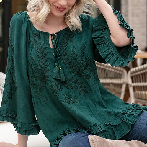 Hunter Green Bell Sleeve Embroidery Top