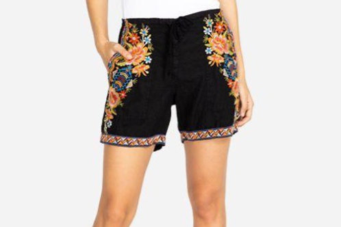Black Embroidered Linen Shorts Johnny Was