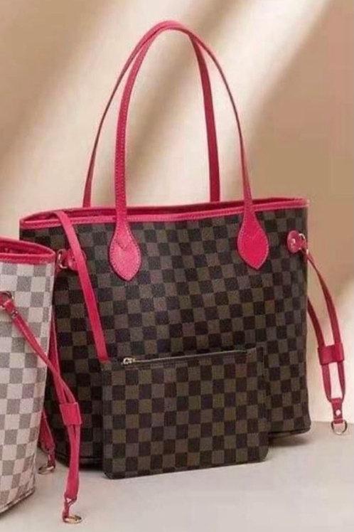 Tote Bag - Brown & Pink