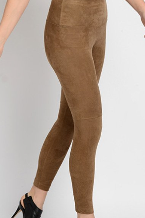Lysee Ultra Suede Leggings with Knee Seam Detail Tummy Control