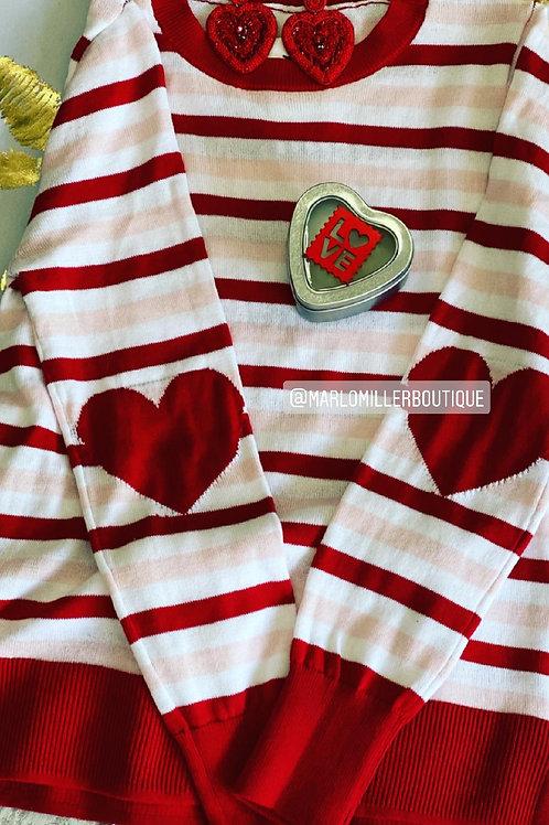 Elbow Heart ~ Red, White & Pink Heart Lightweight Sweater