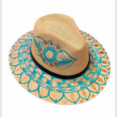 Turquoise Straw Hat
