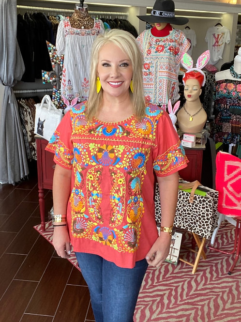 Ivy Jane Coral Embroidery Top