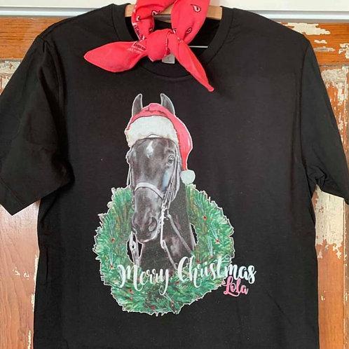 Merry Christmas T-Shirt Lola Long Sleeve ~ Black