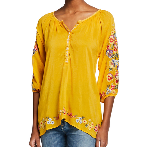 Johnny Was Yellow Embroidery Top