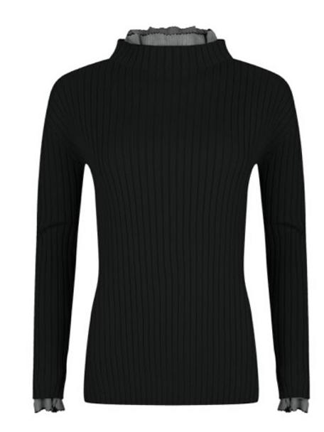 Ribbed Black Sweater ~ Cuff & Neck Ruffle