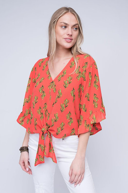 Cactus Coral Top~ Tie Front