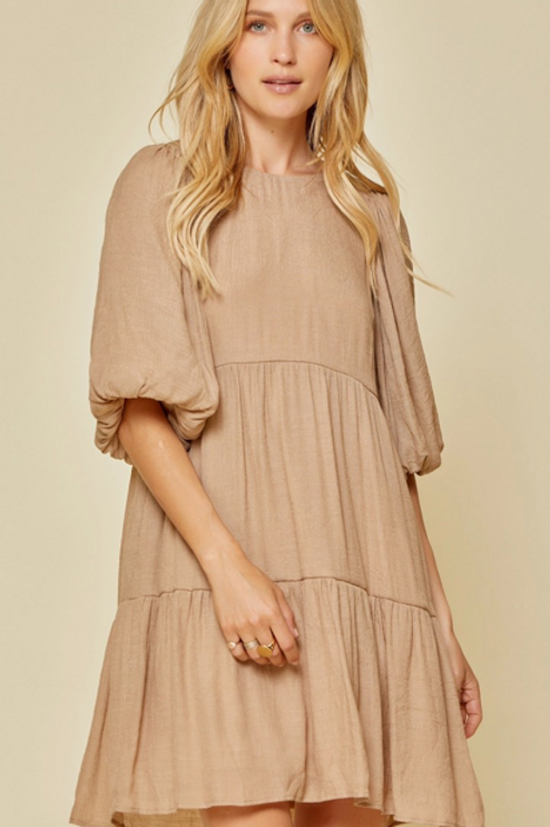 Mocha Tiered Dress with Billow Sleeves