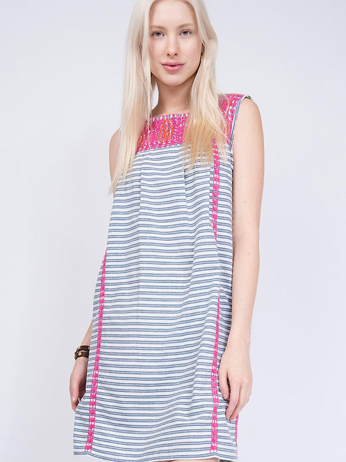 Ivy Jane Baby Blue & White Stripe Dress with Pink Embroidery