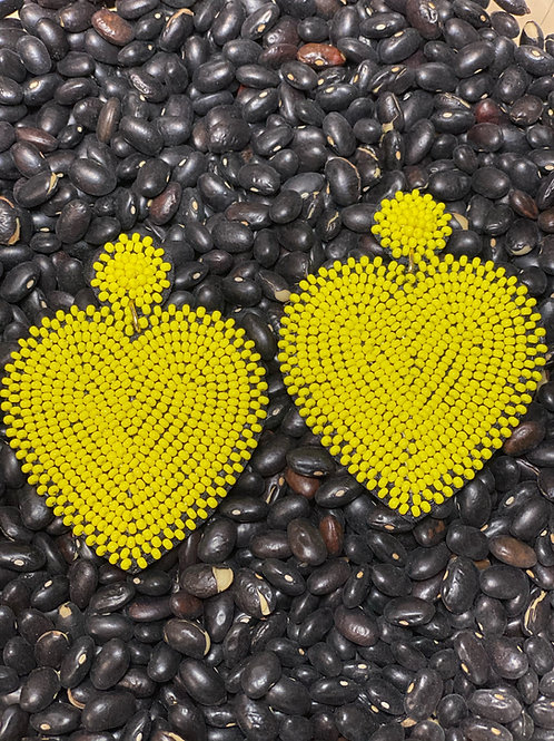 Yellow Heart Earrings - Post