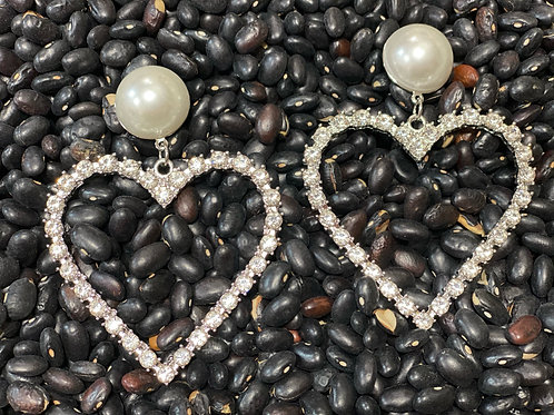 Pearl Heart Rhinestone Earring - Post Silver