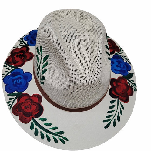 Red & Blue Roses Straw Hat