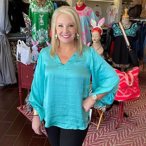 Ivy Jane Turquoise Silk Top