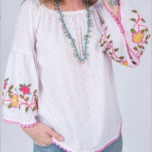 White Embroider Top with Belle Sleeves Ivy Jane