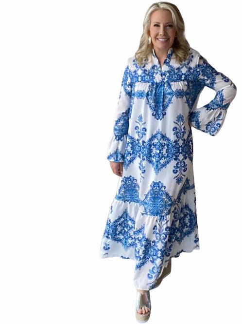 Mindy Blue Floral Maxi Dress
