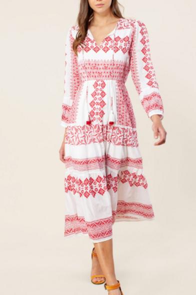 Viola Dress Red & White