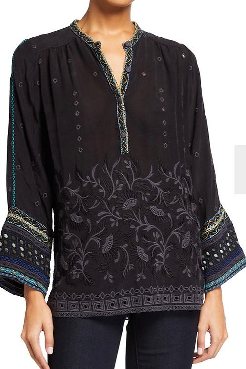 Johnny Was Embroidery Top Black with Bell Sleeves