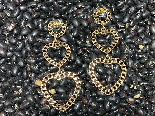 Gold Chain Heart Earrings - Post