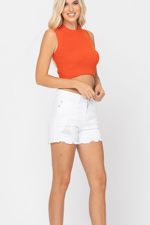 Judy Blue White Distressed Shorts