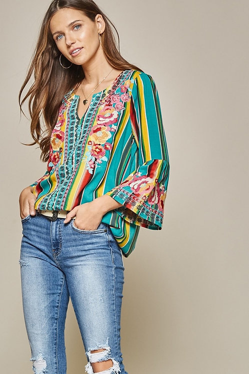 Gorgeous Turquoise Stripe Top with Embroidery