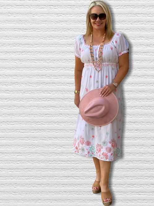 White Cotton Goddess Love Dress with Embroidery