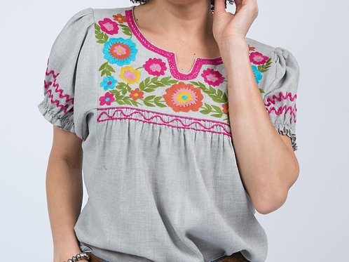 Ivy Jane Light Grey Top with Floral Embroidery