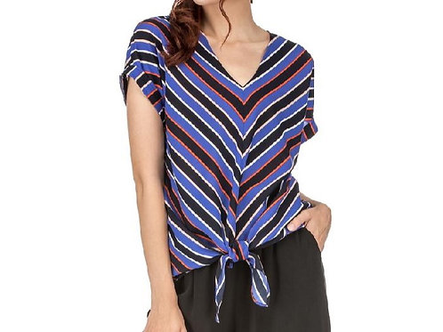 Stripe V-Neck Top with front tie