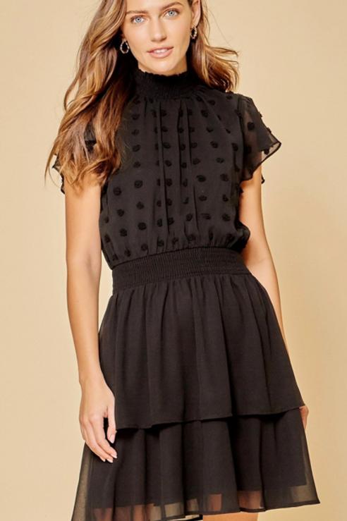 Black Swiss Dot Dress ~ Black