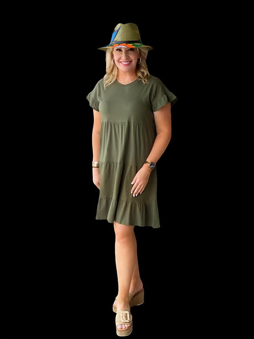 Olive Tiered Dress Solid Cotton