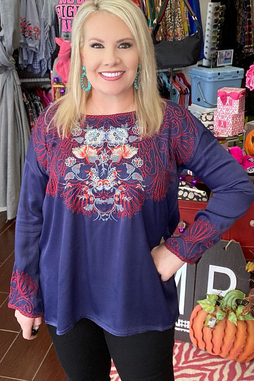 Navy Satin Johnny Was Long Sleeve Embroidery Top