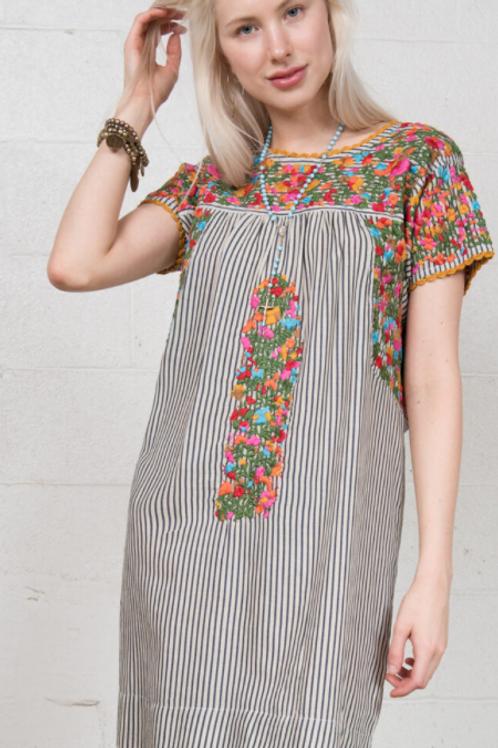 Cammy Stripe Embroidery Dress