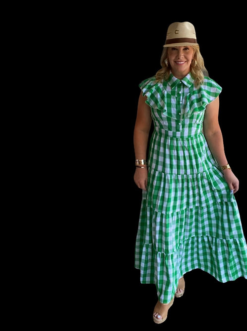 Green Check Maxi Ruffle Dress