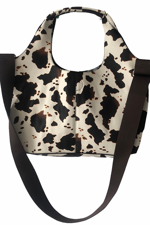 Cow Print Hobo ~ Faux Leather