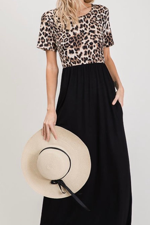 Leopard & Black Maxi Dress