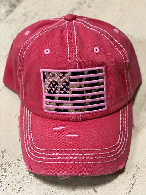 Pink Hat with Leopard Flag Cap
