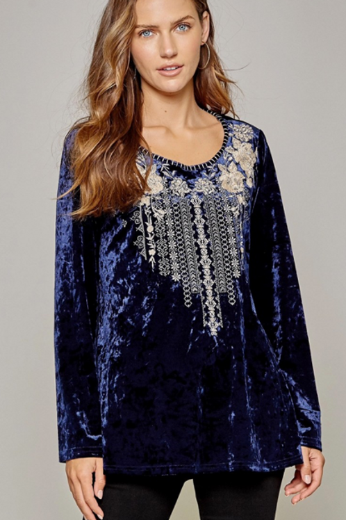 Navy Velvet Top with Embroidery
