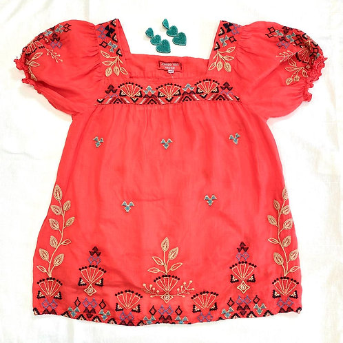 Johnny Was Coral Embrodiery Top